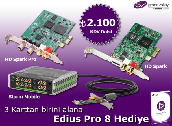 3 Karttan Birini Alana Edius Pro 8 HEDİYE