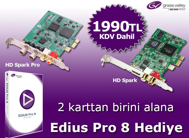 2 karttan birini alana Edius Pro 8 HEDİYE